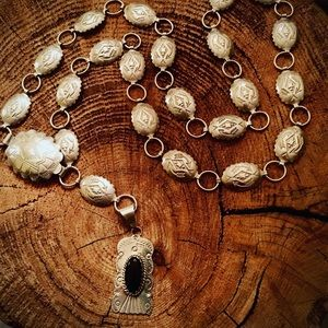 Sterling/onyx concho necklace
